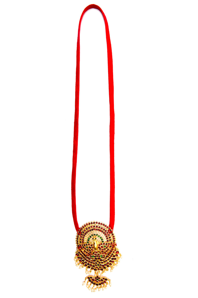 Red Color Peacock With Shoba Contemporary Temple Necklace