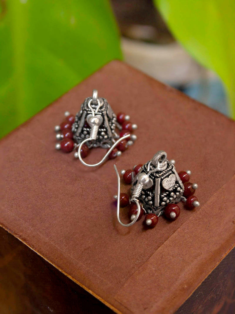 Oxidized Silver Plated Heart Design Maroon Color Hanging Beads Jhumka Earring For Women-OXIDIZED-Earring