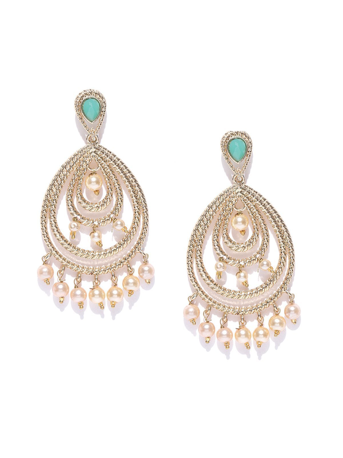 Zaveri Pearls Gold Tone Traditional Pearls Beaded Dangle Earring