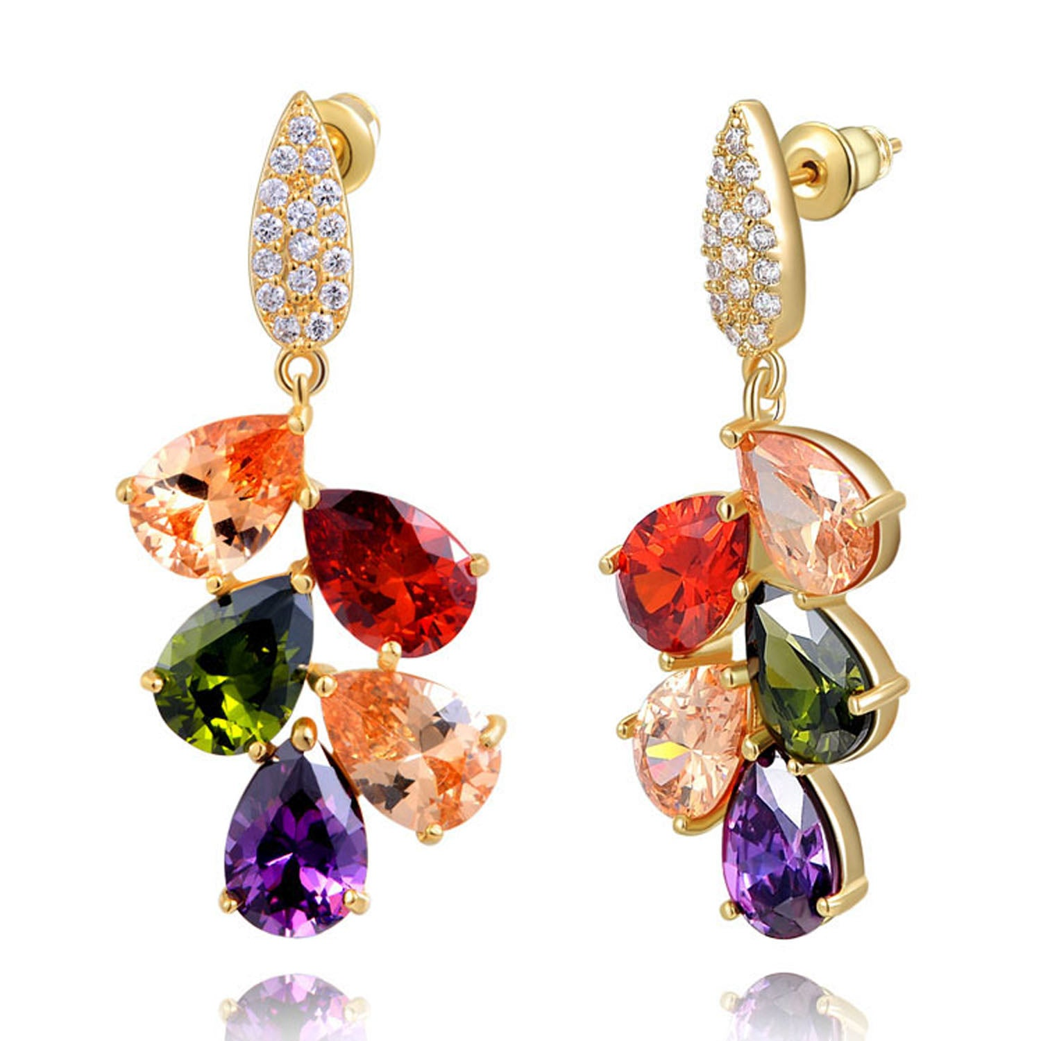 Sukkhi Intricately Leafy Crystal Multi Colour Gold Plated Earring for Women-SUKKHI1-E81069