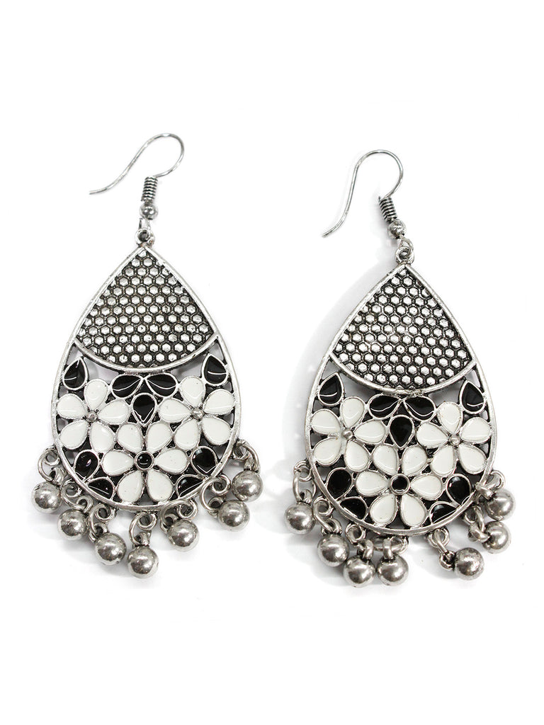 Aana Oxidised Silver Plated Leaf Design White And Black Color Earring