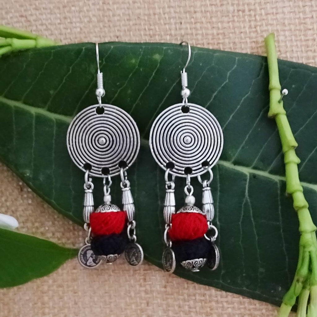 Oxidised German Silver Circular Design With Red And Black Color Cotton Thread Drop Earring-GEMS N PEARLS-Earring