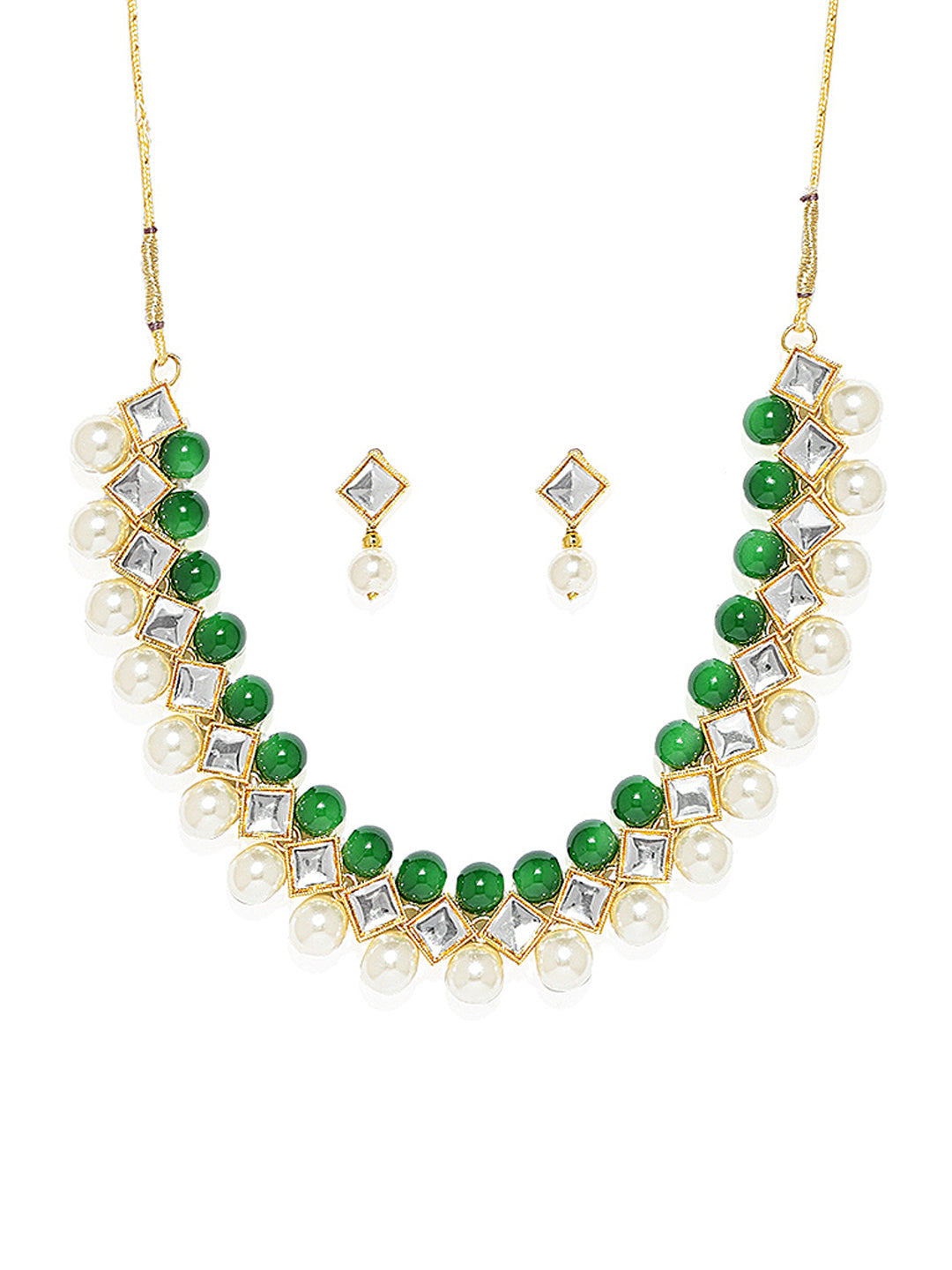 Zaveri Pearls Beautiful Kundan And Pearl Necklace Set-ZAVERI PEARLS1-Necklace Set