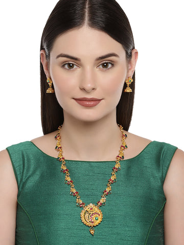 Zaveri Pearls Ethnic Gold Plated Opera Style Necklace Set