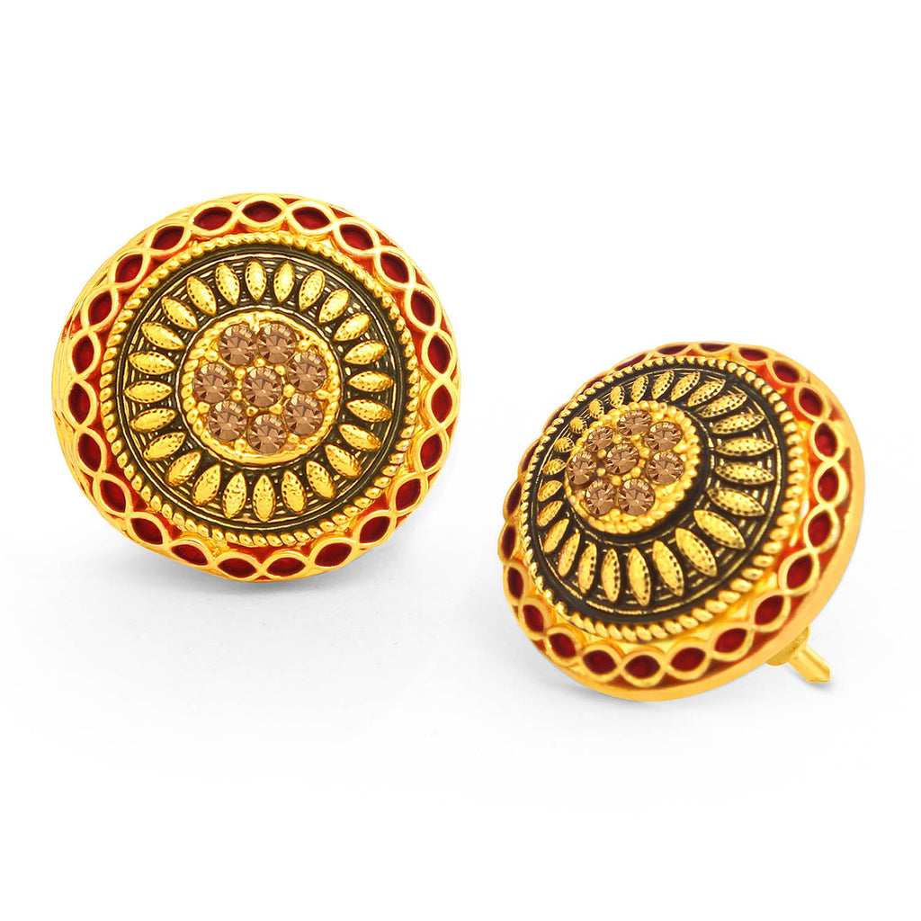 Sukkhi Ritzy LCT Stone Gold Plated Red Mint Meena Collection Stud Earring For Women-SUKKHI1-Earring