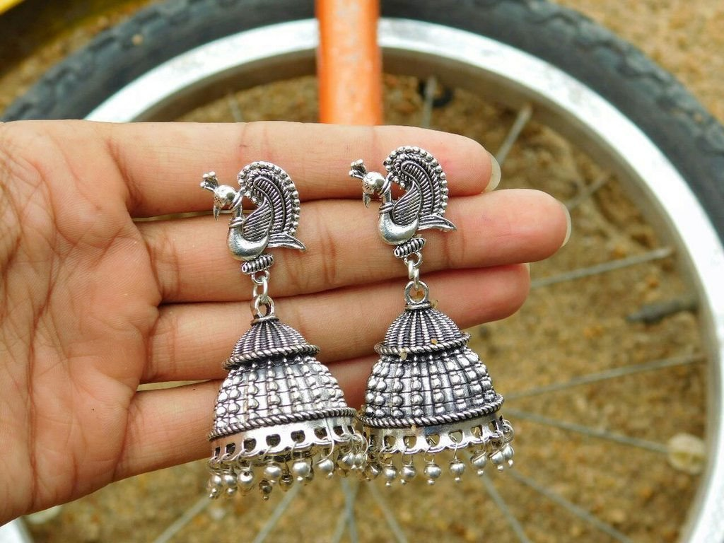 Oxidised German Silver Earring Peacock Design With Silver Droppings