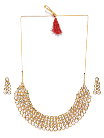 Zaveri Pearls Gold Tone Traditional Kundan Choker Necklace Set