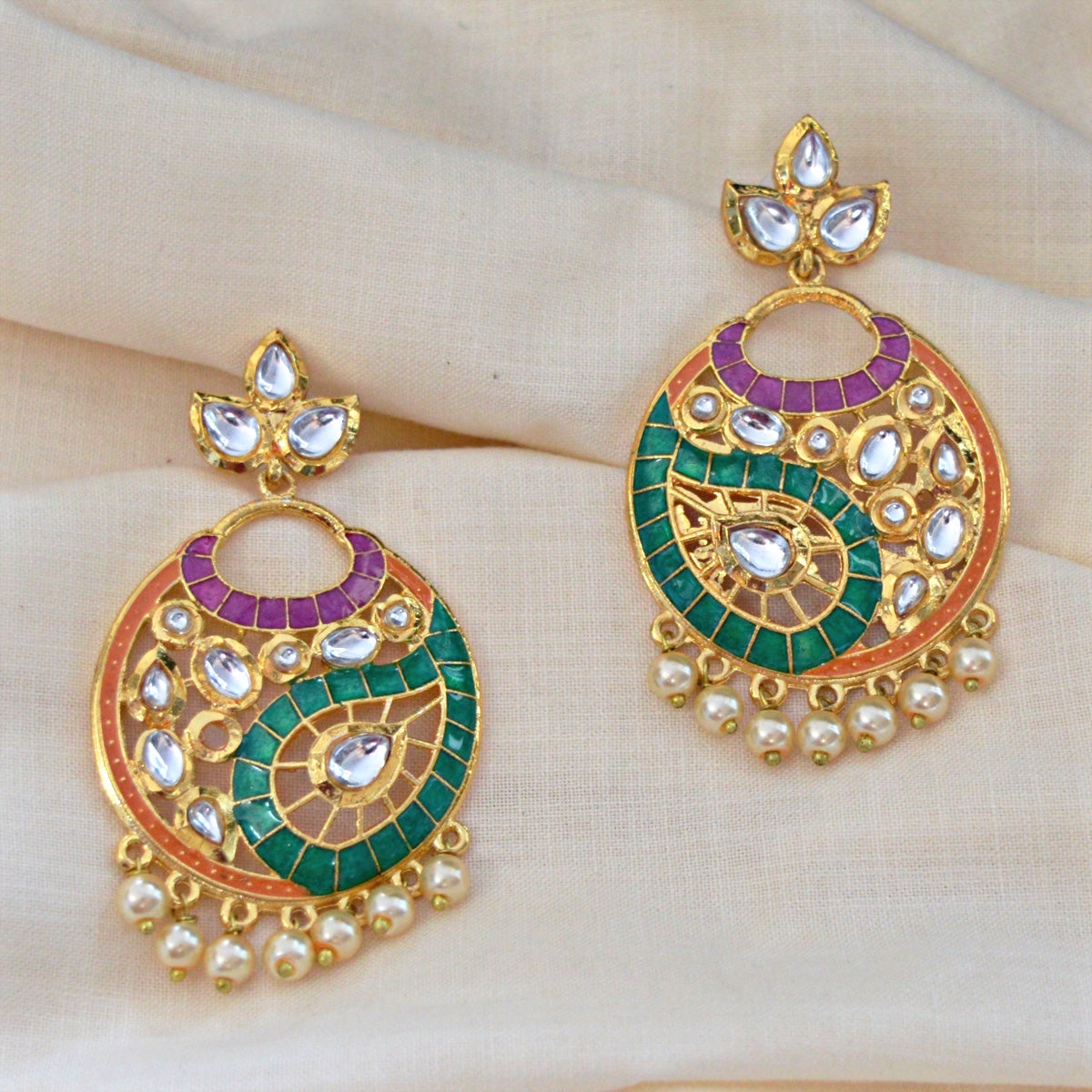 Mk Jewellers Voilet Green And Orange Color Meenakari Circle Cutting Dangler Earring-MK JEWELLERS1-Earring