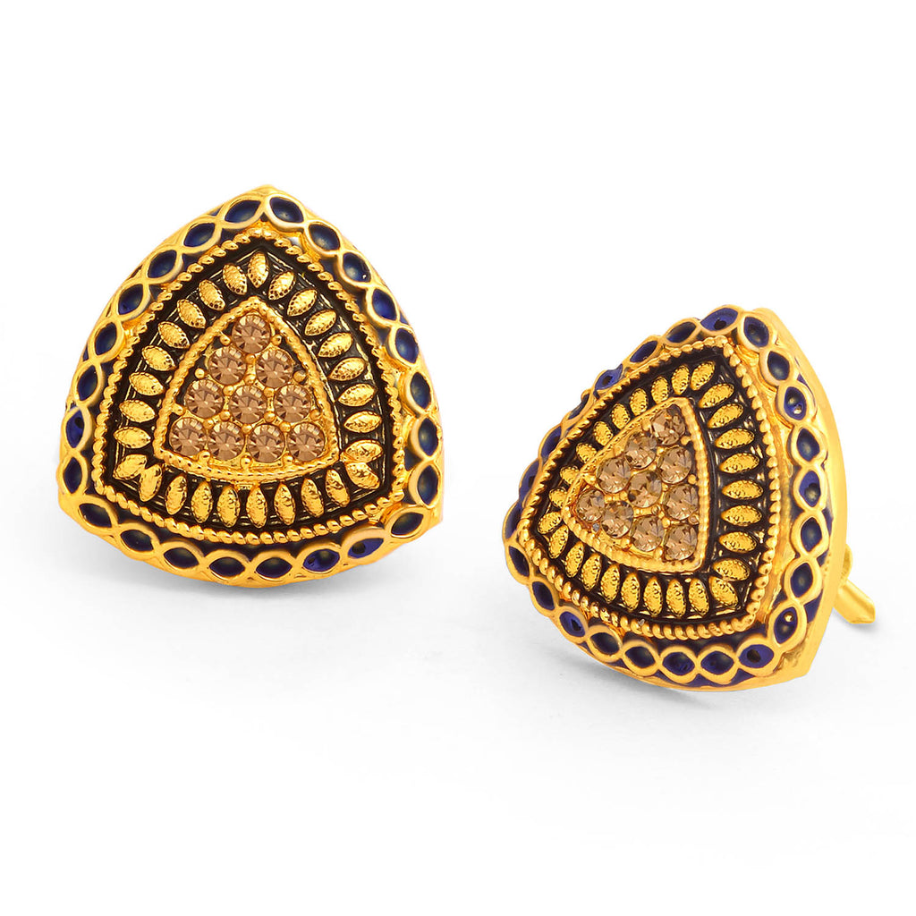 Sukkhi Spectacular LCT Stone Gold Plated Purple Mint Meena Collection Stud Earring For Women-SUKKHI1-Earring
