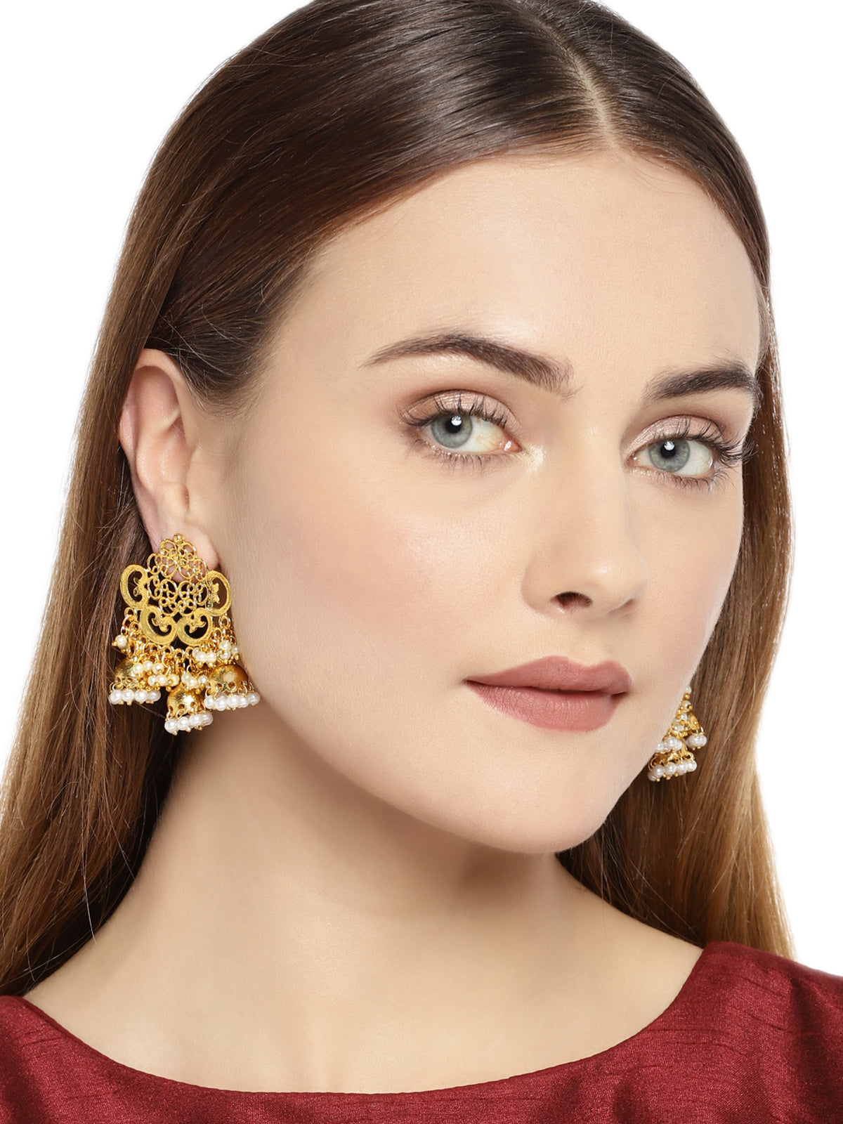 Zaveri Pearls Antique Gold Tone Dangling Jhumka Drops Earring