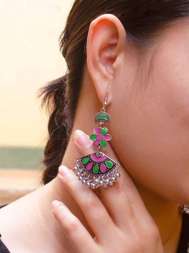 Aana Silver Plated Floral Design Green And Pink Color Enamel Painted With Hanging Silver Beads Dangler Earring-AANA-Earring