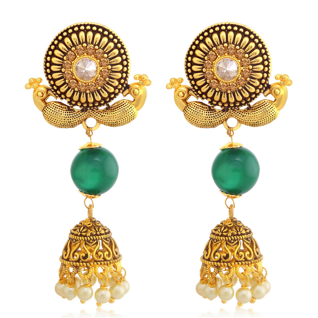 Sukkhi Lovely LCT Stone Gold Plated Duel Peacock Chandelier Jhumki Earring For Women-SUKKHI1-Earring