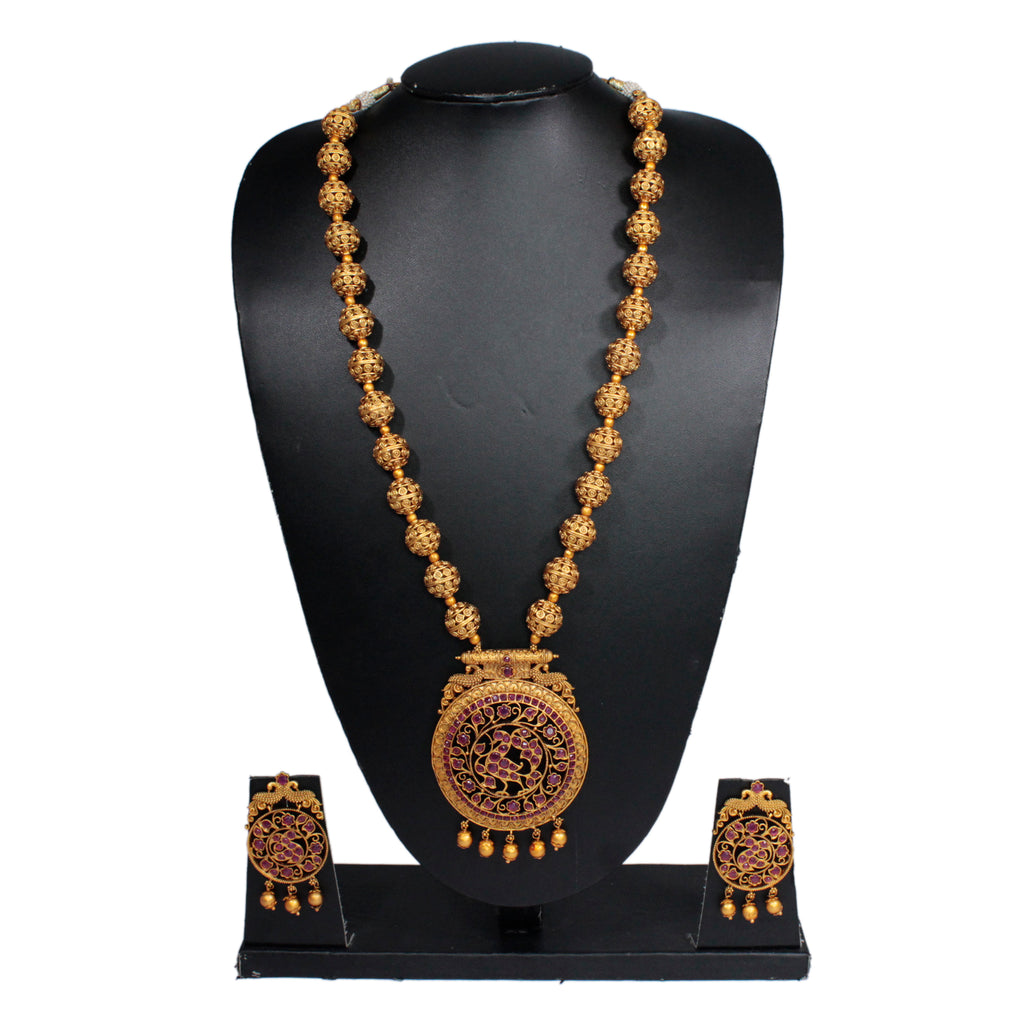 Antique Gold Matt Finish Long Necklace Set