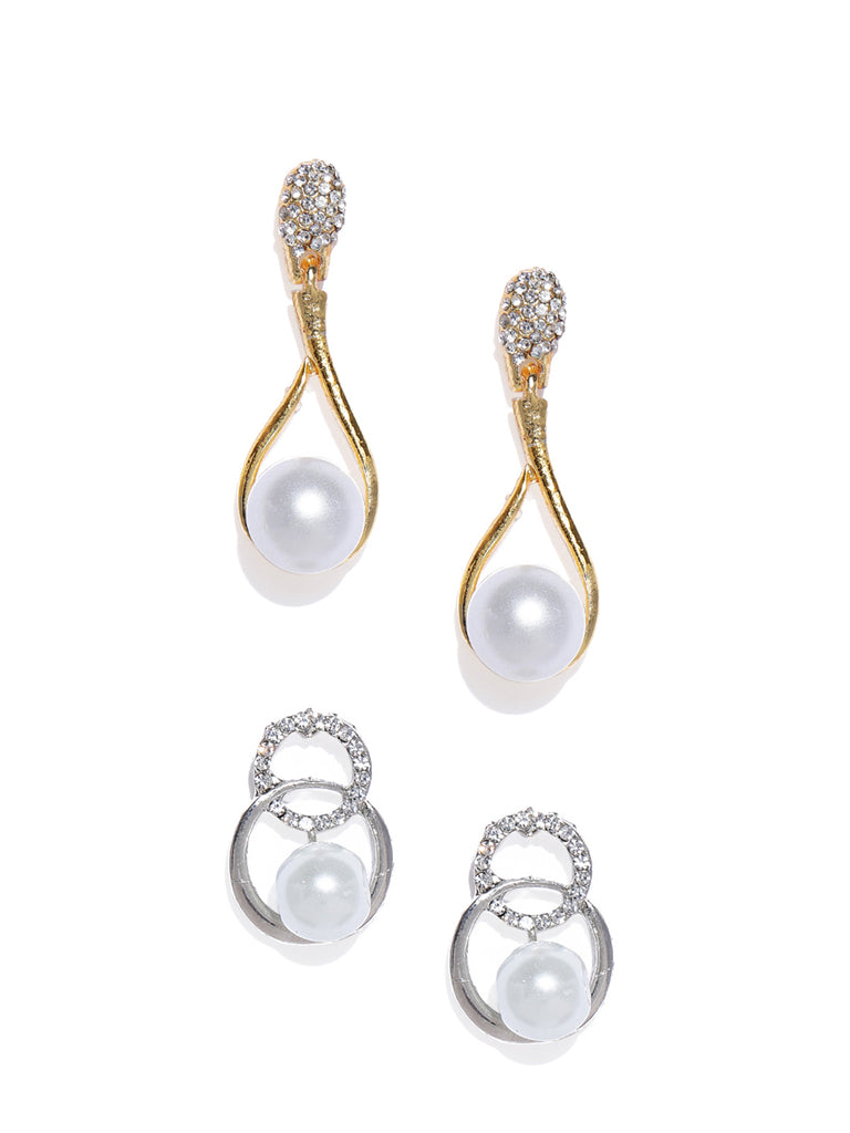 Zaveri Pearls Combo Of 2 Pearl Studded Contemporary Style Stud Earring-ZAVERI PEARLS-Combo