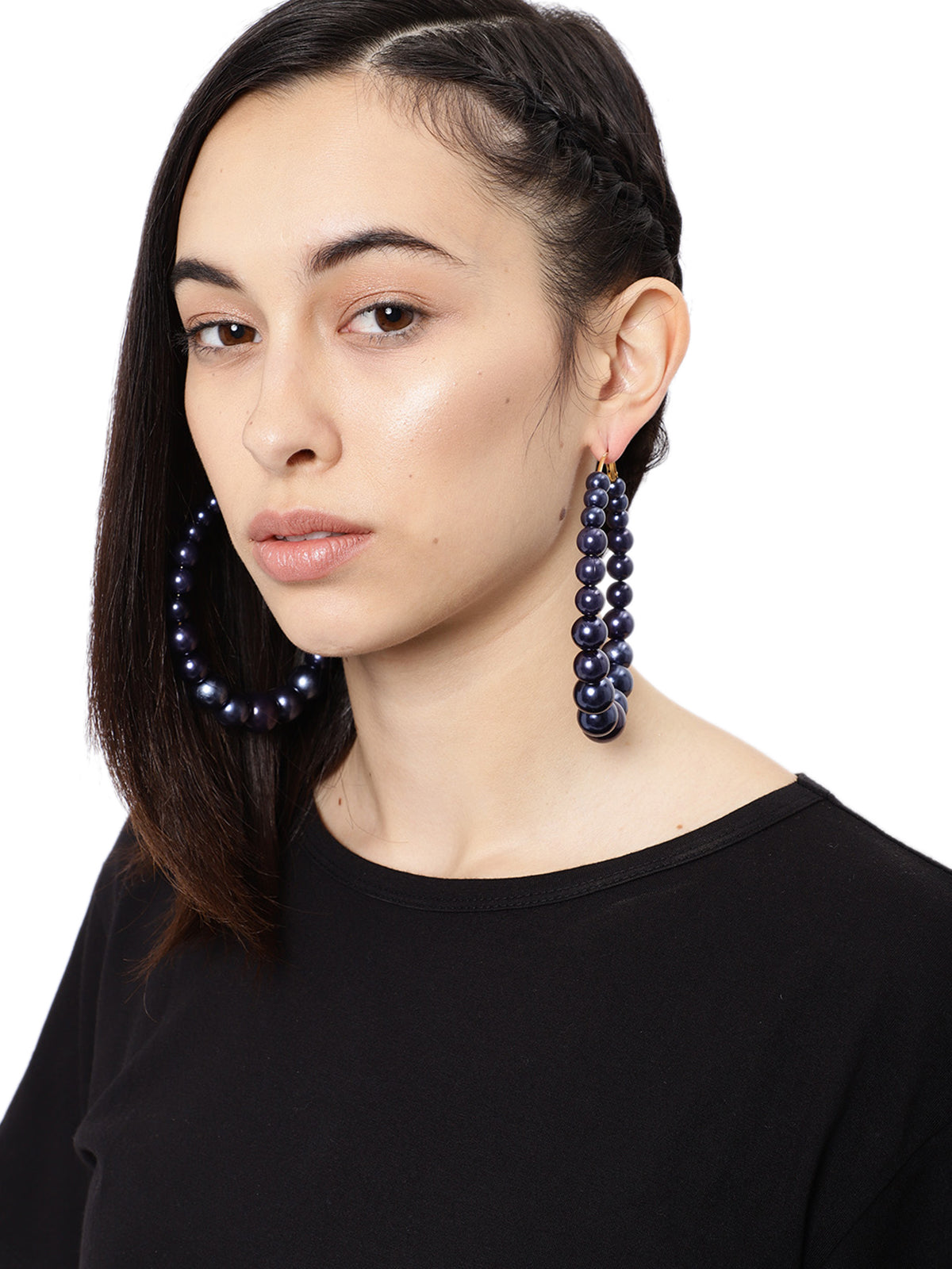 Zaveri Pearls Contemporary Style Beaded Hoop Earring-ZAVERI PEARLS1-Earring