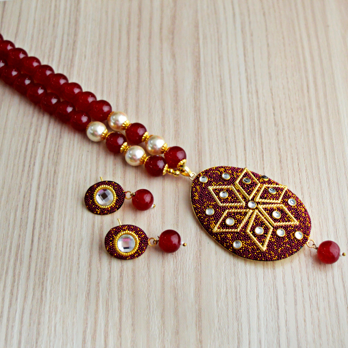 Maroon Colour Beads Floral Design With Kundan Meenakari Necklace Set