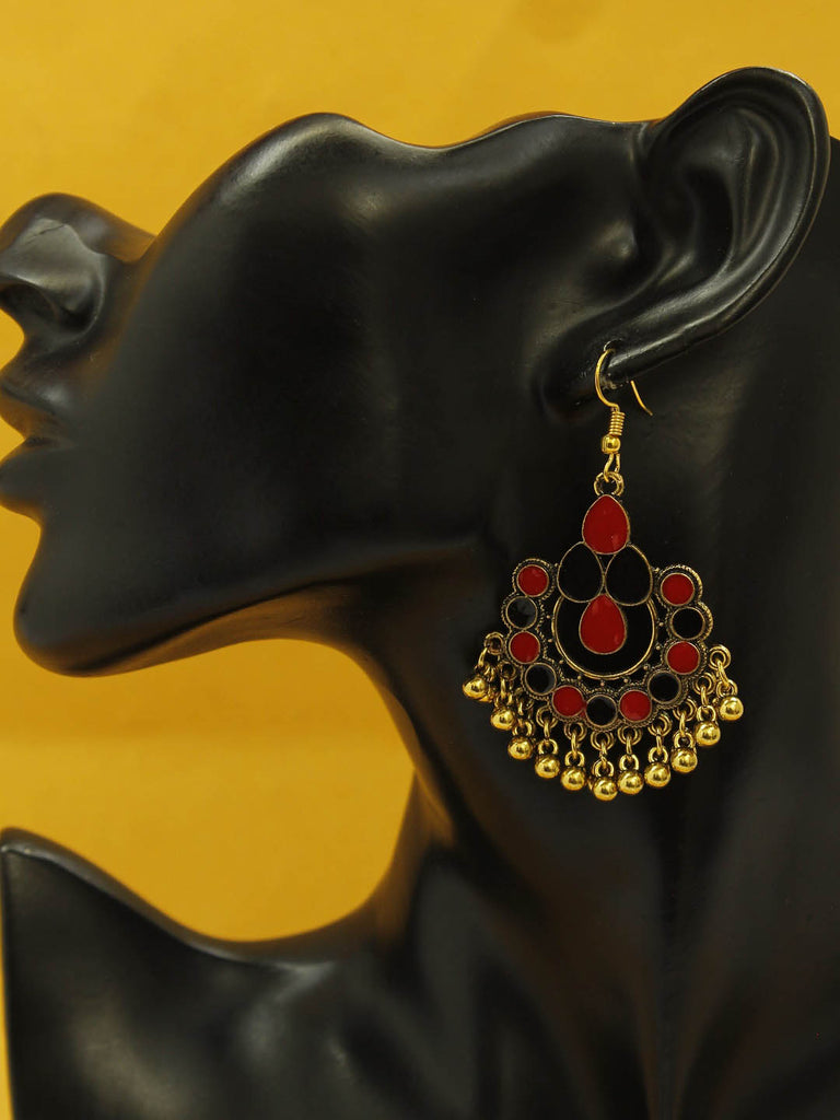Aana Gold Plating Blue And Red Color Floral Design Afghani Earring-AANA-Earring
