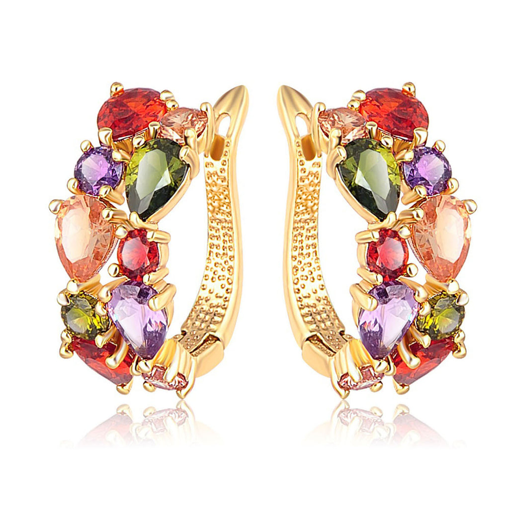 Sukkhi Cluster Gold Plated Multi Colour Petals High Metal Clip-on Earring for Women-SUKKHI1-E81068