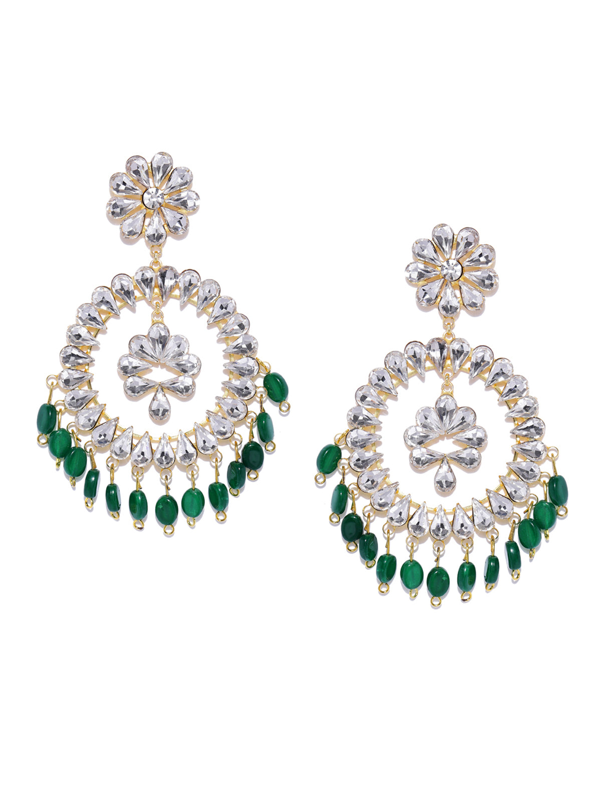 Zaveri Pearls Crystal Shine Stones And Green Beads Dangle Earring-ZAVERI PEARLS1-Earring
