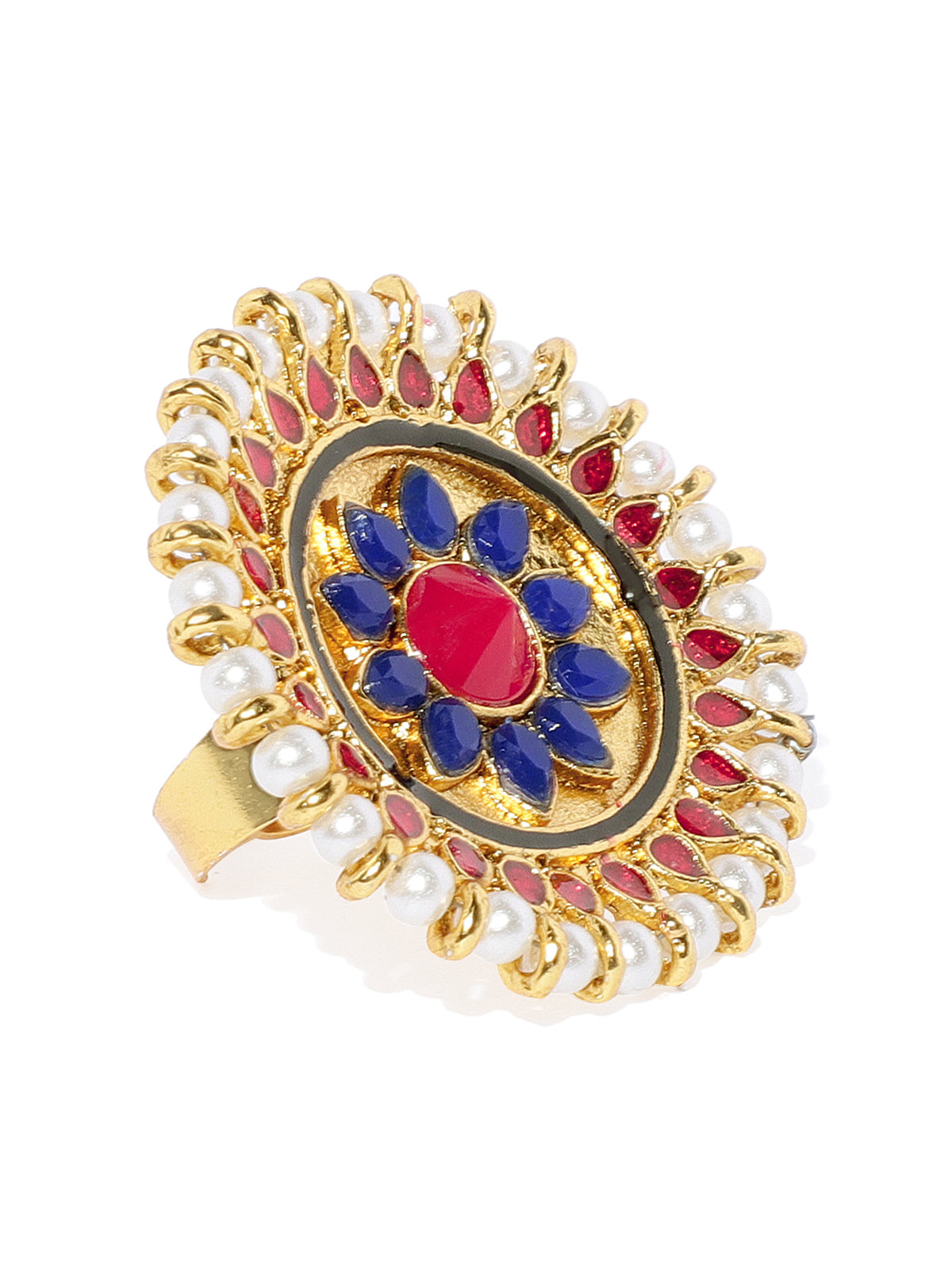 Zaveri Pearls Gold Tone Embellished With Pearls And Meenakari Finger Ring-ZAVERI PEARLS1-Finger Ring
