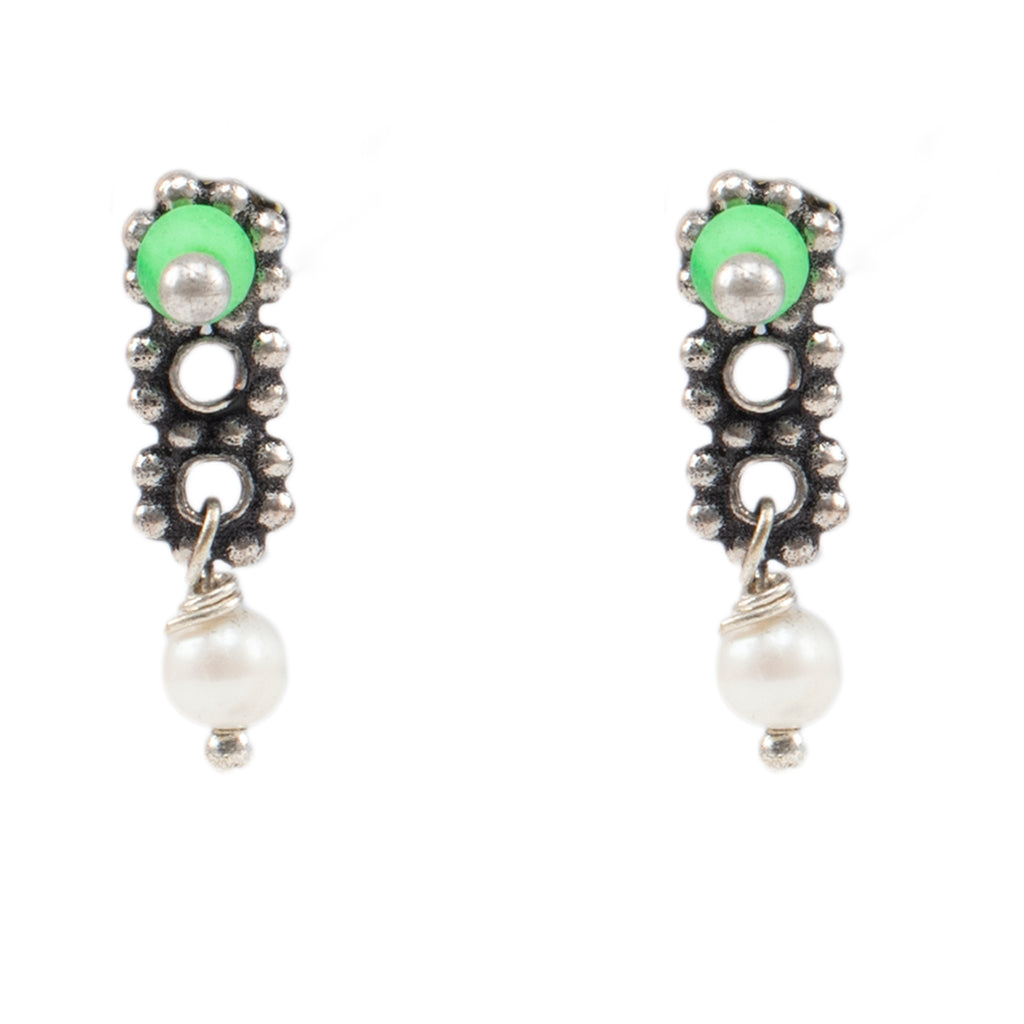Silver Plated Geometric Design Green And Red Color Pearls With Hanging Stud Combo Earring-ANETRA-Earring