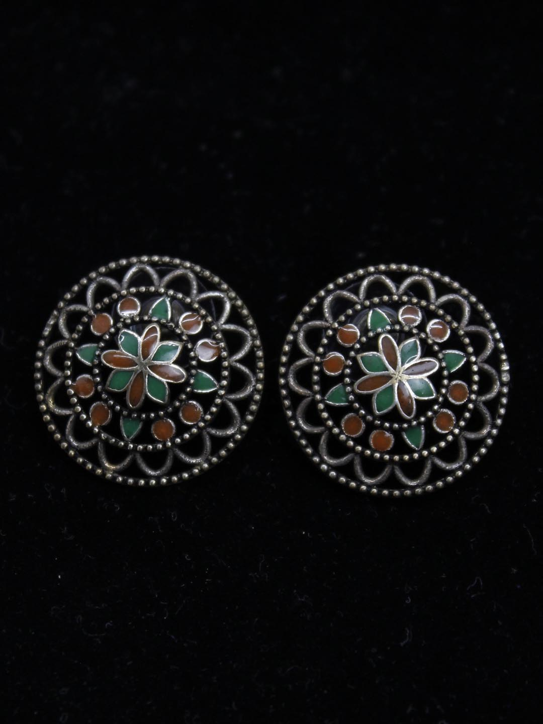 Silver Plated Geometric Design Stud Earring-OXIDIZED1-Earring