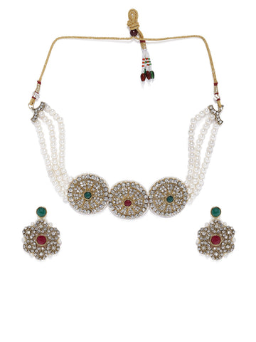Zaveri Pearls Shimmering Austrian Diamonds Studded And Multi Pearl Strands Choker Necklace Set