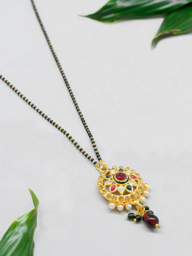 Mangalsutra Beads Necklace With Red Stone Round Pendant Traditional Jewelry-AVISMAYA1-Necklace