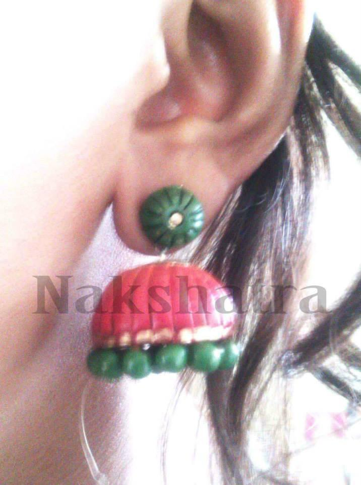 Red And Green Terracotta Jhumka By Nakshatra