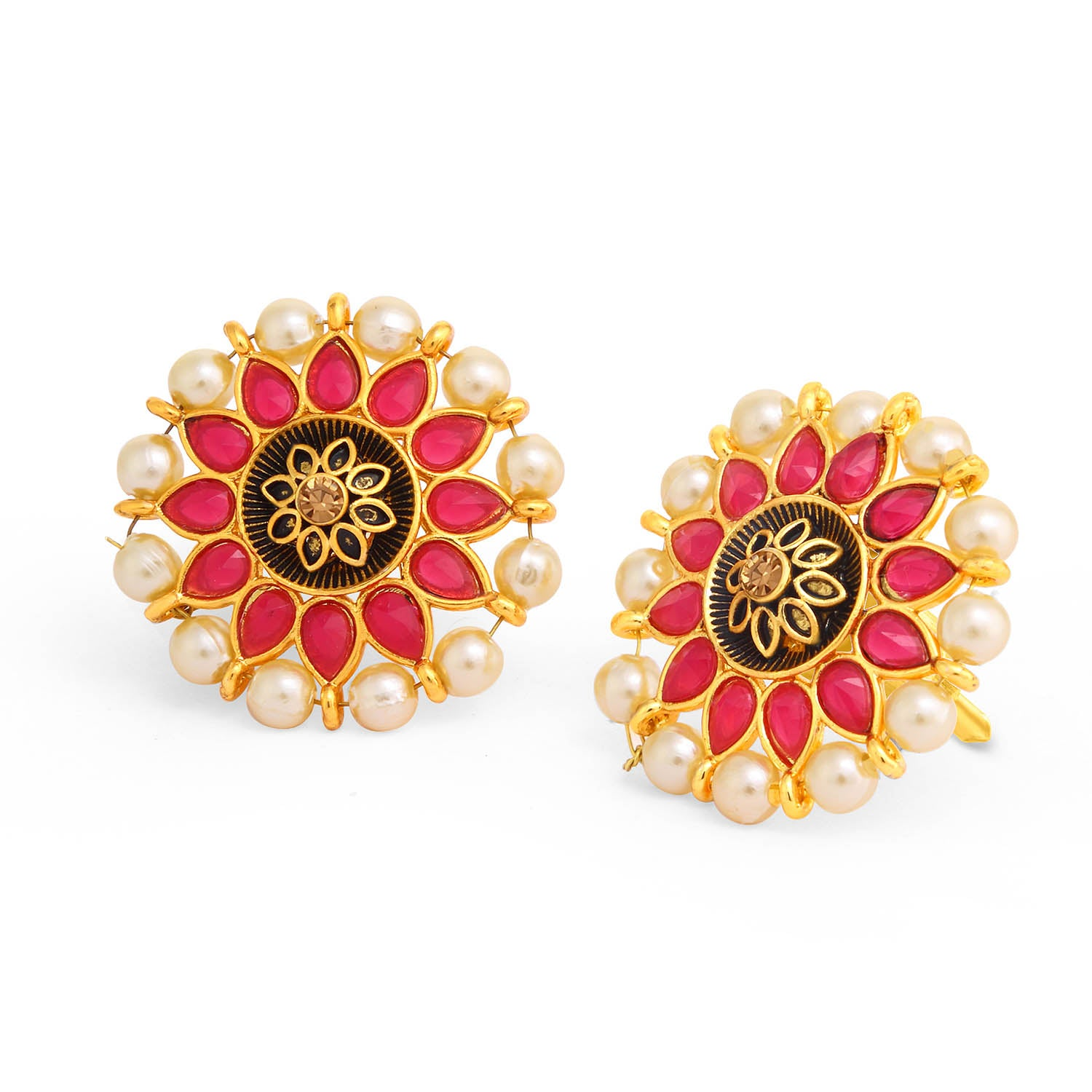 Sukkhi Adorable Floral Gold Plated Pearl Meenakari Stud Earring For Women-SUKKHI1-Earring