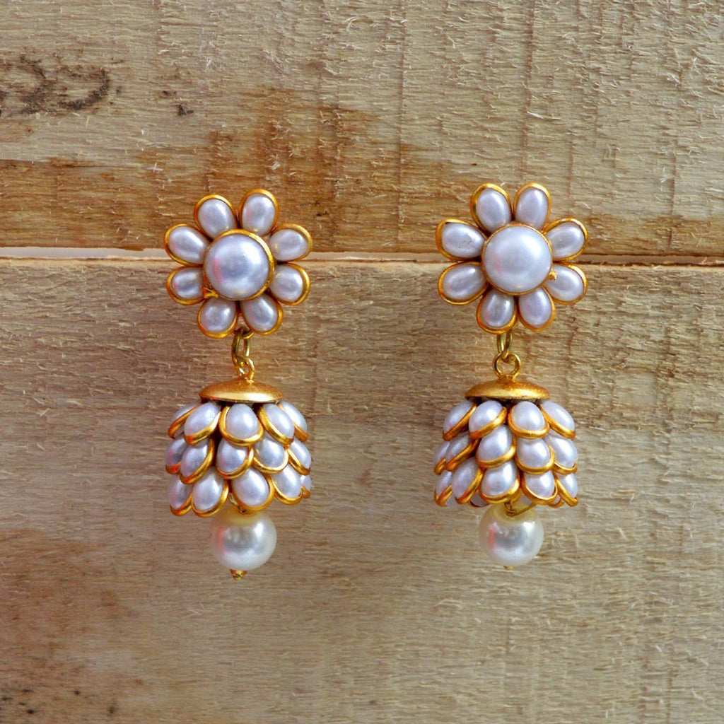 Designer Paachi Pearl Stone White Gold Plated Earring