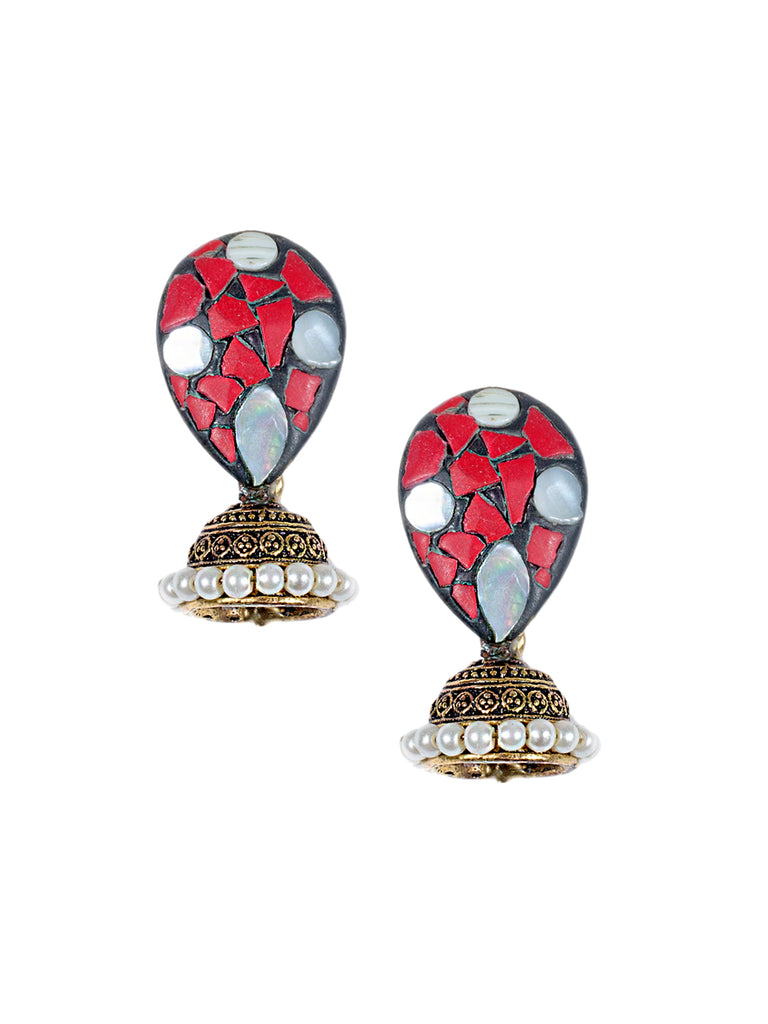 Red Colour Mermaid Jhumka Earring