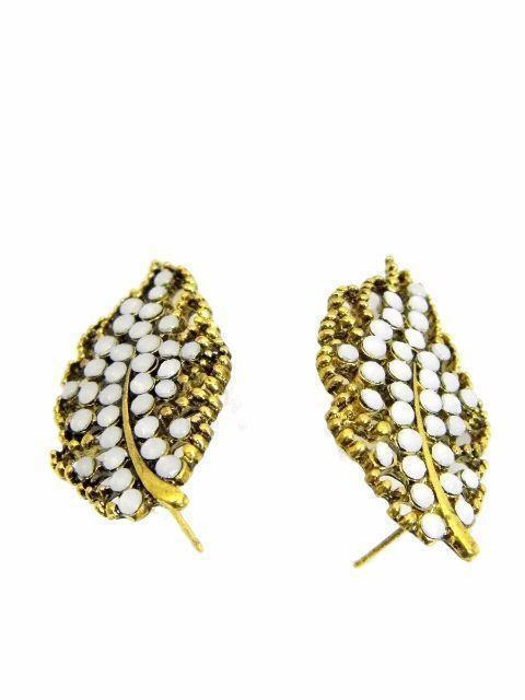Hollow Out Leaf Shape Studs Earrings