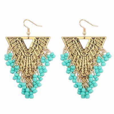 Triangle Shape Earrings With Blue Beads