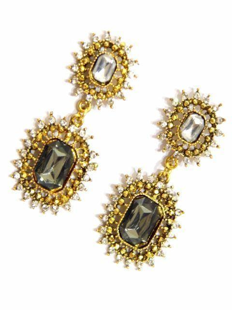 Black & Gold Danglers For Party Wear