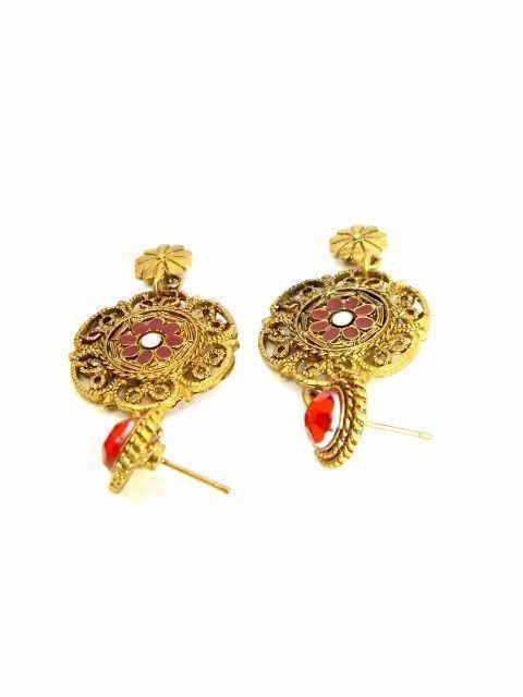 Gothic Red & Gold Danglers
