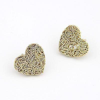 Woven Heart Studs For Party Wear
