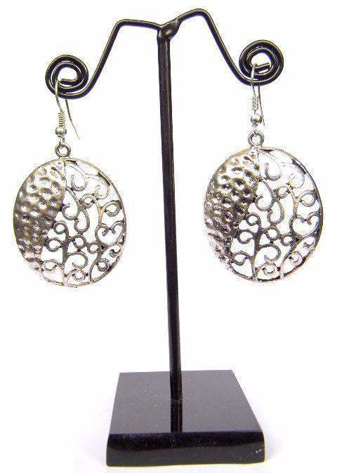 Engraved German Silver Turkish Earrings