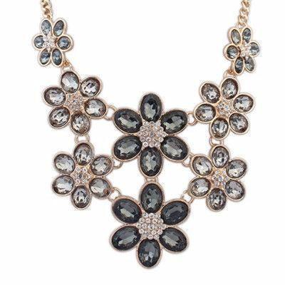 Black Stone Decorated Alloy Necklace