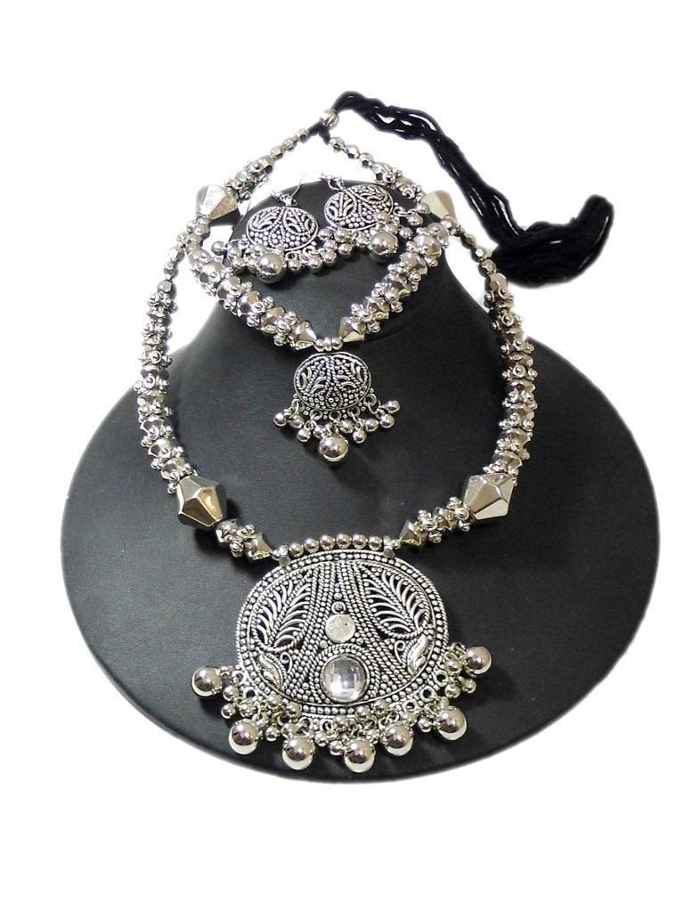 Oxidized Metal Navratri Jewellery Set- Double Strand