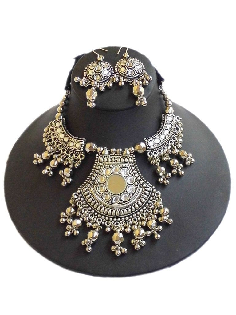 Oxidized Metal Navratri Jewellery Set- Mirror Pendant
