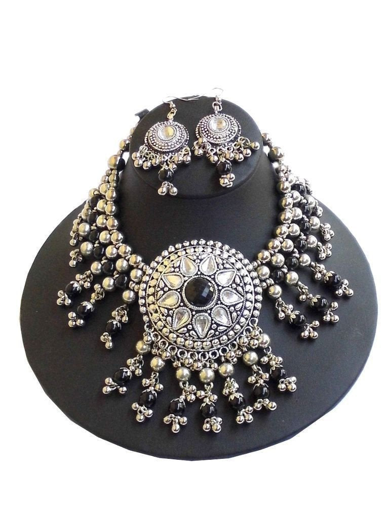 Oxidized Metal Navratri Jewellery Set- Black Beads 1