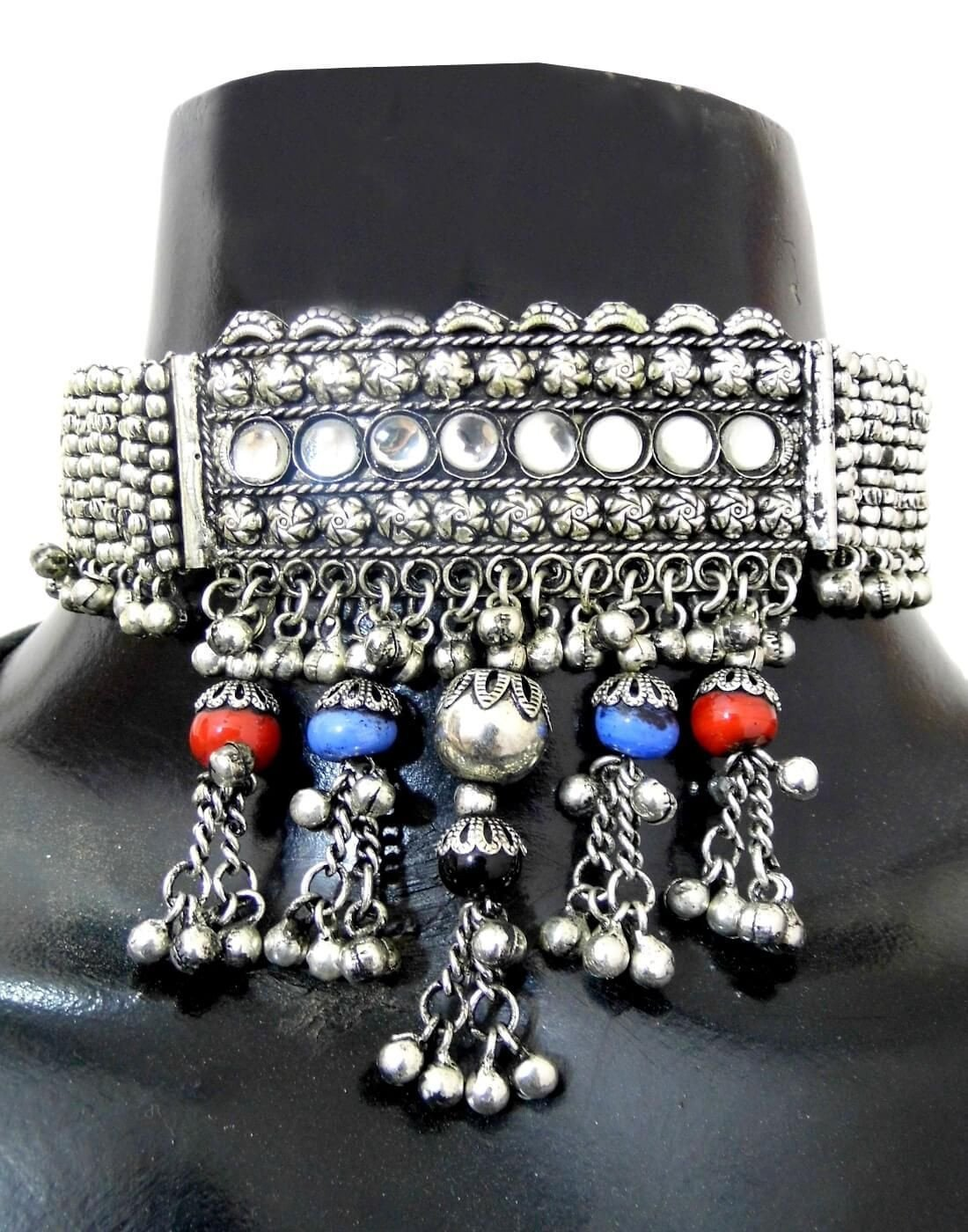 Oxidized Metal Navratri Jewellery Set- Red&Blue Beads