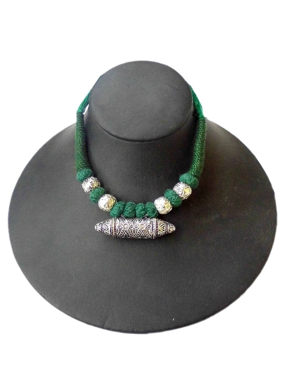 Threaded German Silver Necklace With Taweez Pendant- Green