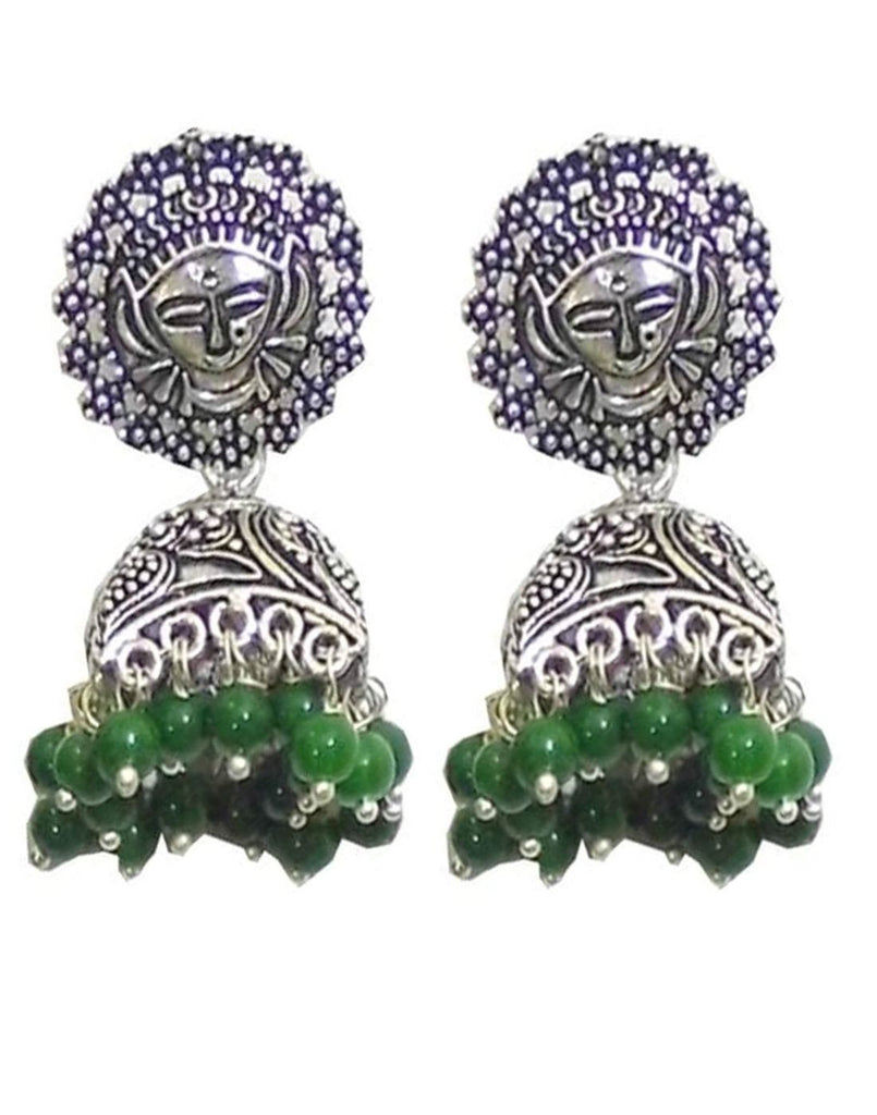 Oxidized Metal Jhumkas- Green Beads