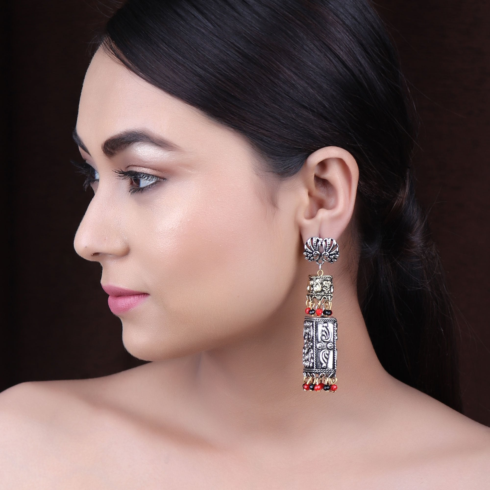 Silver Plating Black And Red Color spirited Peacock Pair Design Jhumka Earring By Cippele-Cippele-Earring