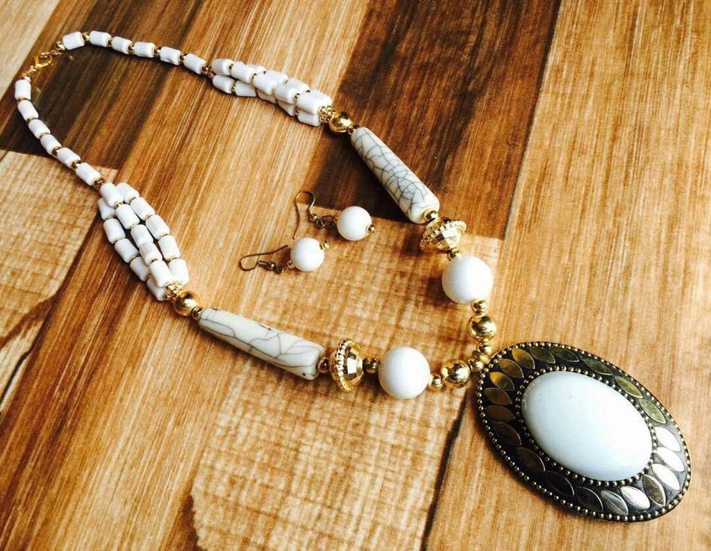Afghani Trible White Necklace Set