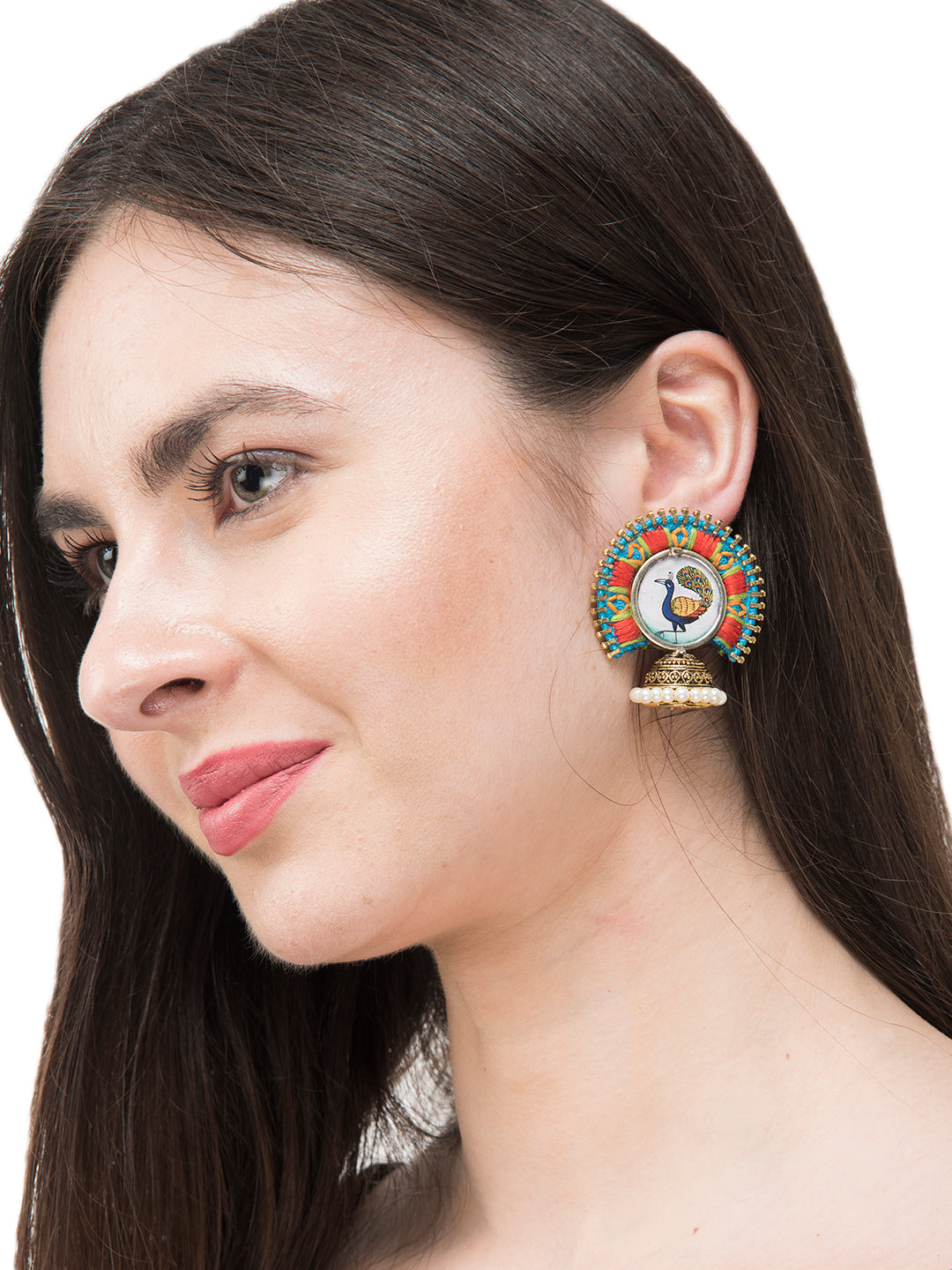 Turquoise Orange Colour Embroidered Jhumka Earring