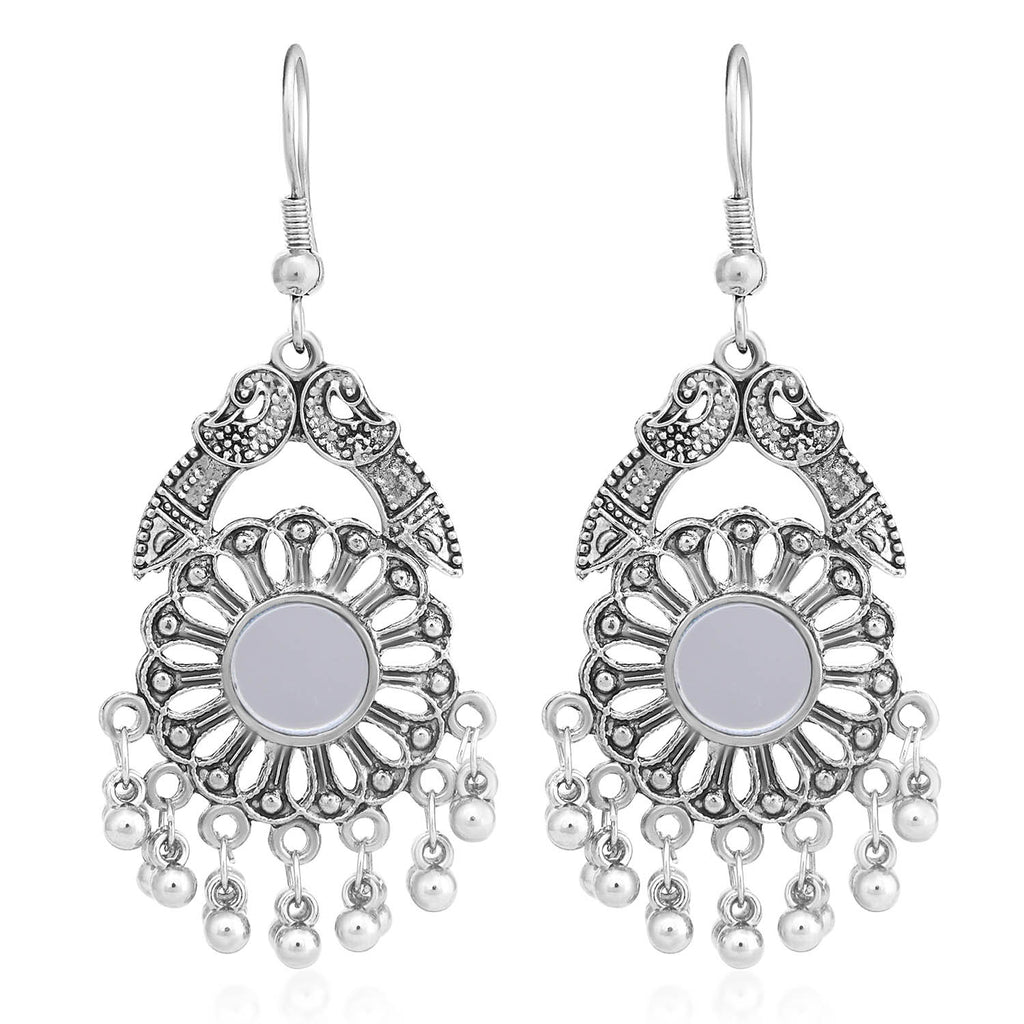 Sukkhi Astonish Oxidised Peacock Chandelier Earring For Women-SUKKHI1-Earring