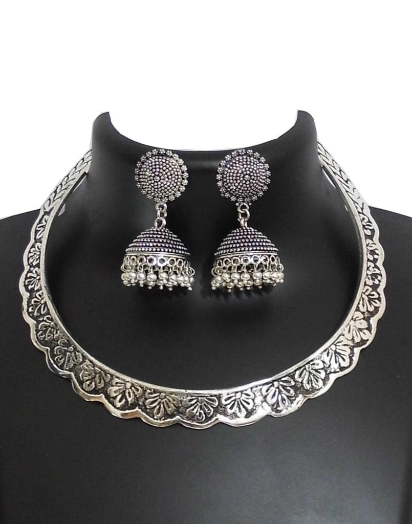 Oxidized German Silver Hansuli And Jhumka Set- Pattern 4